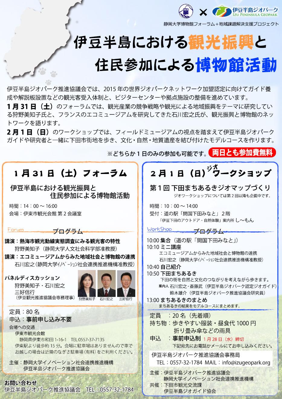 フォーラム&ワークショップ 伊豆半島における観光振興と住民参加による博物館活動